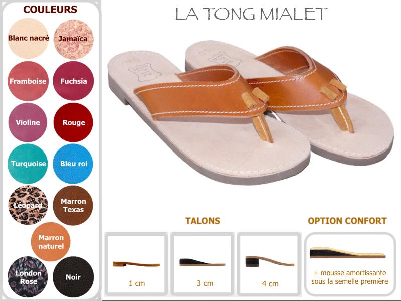 Tong Mialet en cuir vachette talon au choix, déclinaisons par Cuir Polaine, Artisan Créateur Maroquinier, Artisan de France