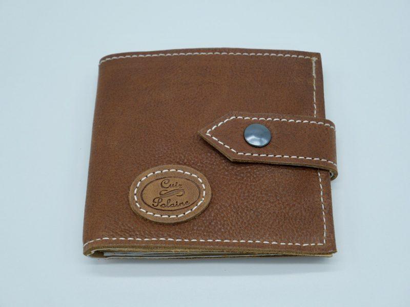 Portefeuille cuir marron mixte petit modèle, par Cuir Polaine, Artisan Créateur, Artisan de France