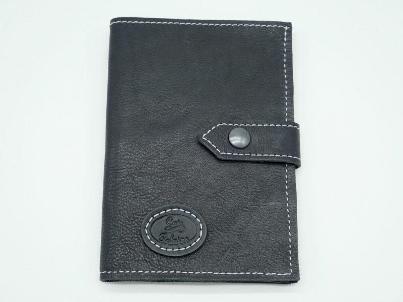 Portefeuille cuir noir mixte grand modèle, par Cuir Polaine, Artisan Créateur, Artisan de France