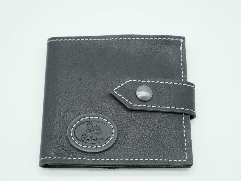 Portefeuille cuir noir mixte petit modèle, par Cuir Polaine, Artisan Créateur, Artisan de France