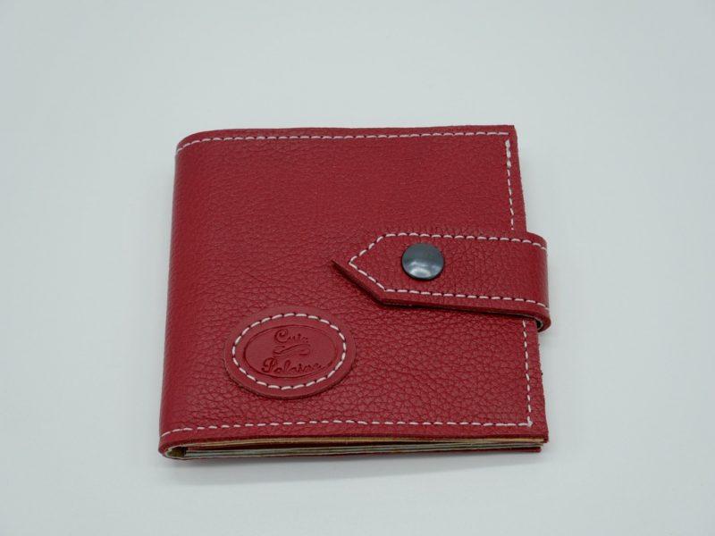 Portefeuille cuir rouge mixte petit modèle, par Cuir Polaine, Artisan Créateur, Artisan de France