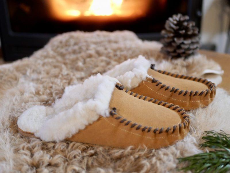 Mules mocassin homme marron en cuir fourrées 100 % laine de mouton, par Cuir Polaine, Artisan Créateur, Artisan de France